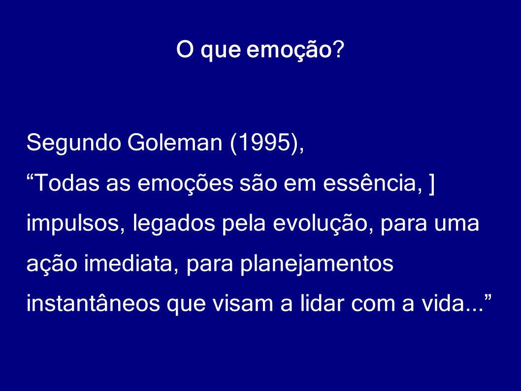 O que emoção Segundo Goleman (1995), Todas as emoções são em essência, ] impulsos, legados pela evolução, para uma.